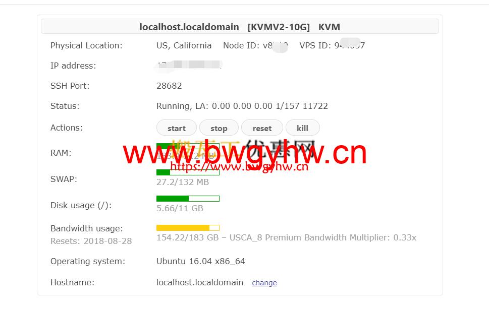 搬瓦工VPS服务器信息