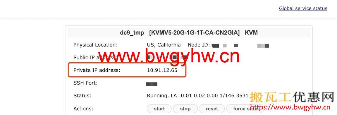 搬瓦工Private IP Address
